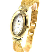 Ladies Gold Tone Oval Dial Watch by Golddigga, Mesh Strap, White Face,Gift Boxed