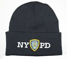 NYPD Winter Hat Police Badge New York Police Department Navy & White One Size