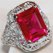 1Pc/set 925 Silver Noble Ruby & White Gemstone Rings Marriage Jewelry Size 9