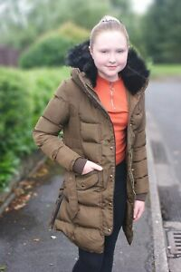 Charcoal Fashion Girl's Mocha/ Brown Back to School Hooded Quilted Puffa Coat