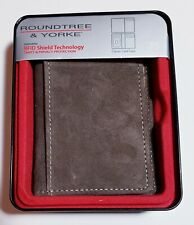 Men's Leather/Suede Wallet Roundtree & Yorke RFID Brown, New in Gift Box