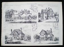 HERBERT DUNCAN SEARLES-WOOD HOUSES BANSTEAD SUTTON ETC ARCHITECT PRINT 1893