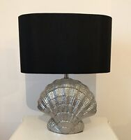 Silver Shell Nautical Seaside Table Lamp With Shade Large Ocean Style Table Lamp