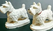 2 Vintage White Scotty Terrier dog figurines W/red collars plaster or chalkware?