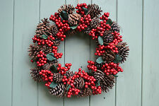 Gisela Graham Christmas Door Wreath Natural Cone Red Berry & Leaf 40 cm