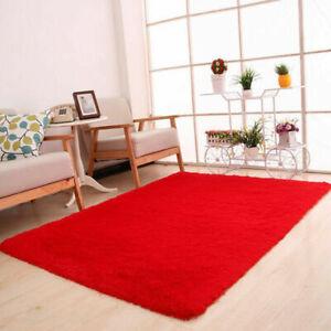 Soft Fluffy Rugs Anti-Skid Shaggy Floor Mat Area Rug Dining Room Home Bedroom