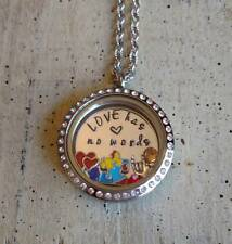 Custom Autism Awareness Floating Charms memory Locket Necklace LOVE has no words