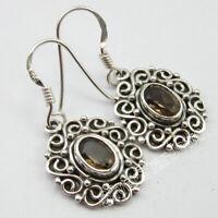 "Oval Shape Smoky Quartz 2.0 Ct Earrings 1.3"" 925 Solid Silver Gemstone Jewelry"