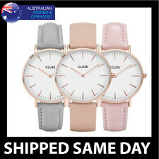 WOMENS CLS FASHION DRESS WATCH Silver Rose Gold Pink Black Faux Leather Ladies