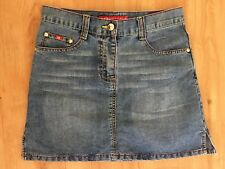 Ladies  PUNKYFISH Blue Denim Skirt Size 26/40 Small 8-10 Short Mini Fade Vintage