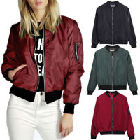 Women's Ladies Jacket Flight Coat Zip Up Biker Casual Loose Tops Clothes Outwear