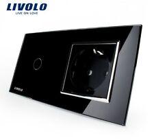 SET aus 4 Kombi Touch Lichtschalter + Steckdose Livolo Schwarz Kristall Glas