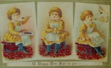 1870's-80's New Year's Card Child Eating Pie Getting Sick Poem On Back P67