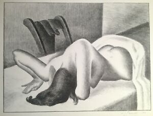 Original William Sewell Modernist Lithograph Print Female Nude Titled Early Hour