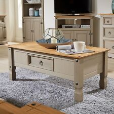 Corona Pine Two Tone Grey Coffee Table 1 Drawer Solid Wood Occasional Seconds