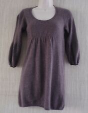 VINCE 100%  CASHMERE BROWN GRAY 3/4 SLEEVE  THIN SWEATER TUNIC SIZE:S