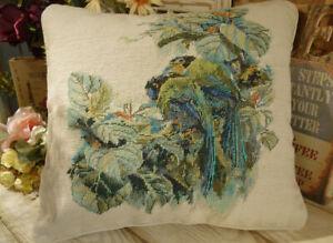 "16"" Tree Birds Throw Pillow HANDMADE NEEDLEPOINT WHOLE PETIT POINT Tapestry"