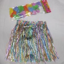 Childrens Fancy Dress Hawaiian Grass Hula Skirt & Floral Lei Garland New