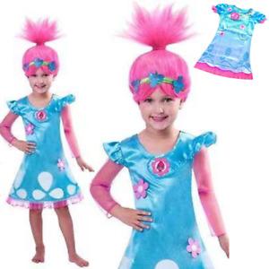 Cute Kid Girl Princess Poppy Fancy Skirt Wig Set Halloween Cosplay Dress Costume