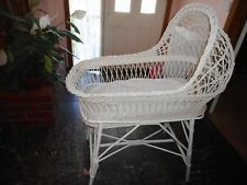 GORGEOUS VINTAGE LOOKING MOSES CANE WICKER BASSINET BASKET WHITE ON STAND