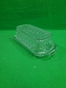 Vintage Anchor Hocking Clear Glass Butter Dish ~ Wexford ~ Diamond ~ Covered