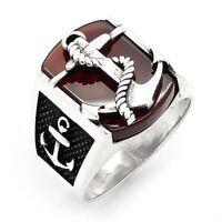 Anchor 3D Rot Achat Edelstein Solide Türkei 925 K Sterling Silber Mens Ring 1