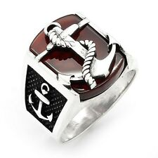 Anchor 3D Red Agate Gemstone Solid Turkish 925 K Sterling Silver Mens Ring 1