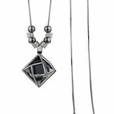 High Quality 18K Black GP Grey Sapphire Square Crystal Pendant Long Necklace
