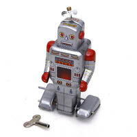 Vintage Retro Style Wind Up Robot Silver Grey Tin Toy Collectible Gift with Key