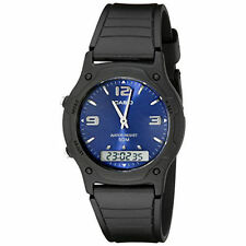 Casio AW49HE-2AV, Analog/Digital Combo Watch, Black Resin Band, Blue Dial, Alarm