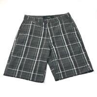 O'Neill Mens Plaid Black White Gray Shorts Size 34