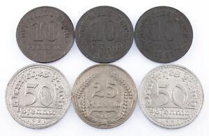 Lot of 6 German Empire & Weimar Republic Coins (1910 - 1922 10 Pf - 50 Pf)
