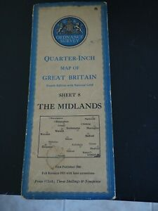 1946 Ordnance Survey Quarter-Inch Map of Great Britain The Midlands