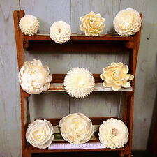 10 Sola Wood Diffuser Flowers with cotton rope, mix of flowers