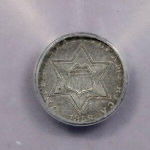1858-P 1858 Three Cent Silvers ICG VF30