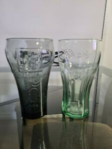 Coca Cola Coke Glasses x2 Collectable Drinking Beijing & London Olympics