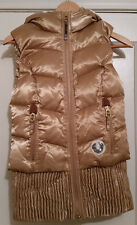 $349 NWT TRUE RELIGION *NEW* Womens Gold Quilted DOWN Puffer VEST W/HOOD SMALL