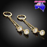 Wholesale 18K Yellow Gold Filled Fringed CZ Zircon Crystal Hoop Dangly Earrings