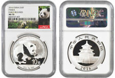 2016 30 GRAM SILVER PANDA NGC MS 70ER - LOT OF 10