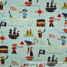 BonEful Fabric FQ Flannel Cotton Quilt Blue Star Pirate Hat Skull Sail Boat Boy
