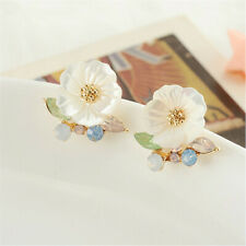 10mm Natural White Shell Flower Earrings Ear Drop Dangle Hoop Classic
