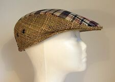 Pendleton Straw and Cotton Plaid Newsboy Golfer's style hat. Small
