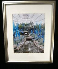 HOME DECOR - FRAMED FLORAL PHOTO OF BOTANICAL BLUE FLOWERS IN GREEN HOUSE