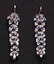 Sparkling Floral Cubic Zirconia Stones Leaves Stack & Chrome Earrings(Cl35)