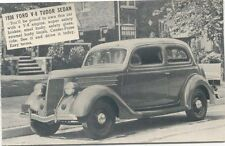Ford V8 Tudor Sedan 1936 Salesmans Card Period Postcard