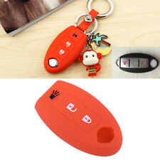 Red 3 Buttons Remote Key Fob Case Shell Silicone Cover Fit Nissan TIIDA Murano