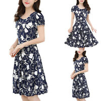 Summer Women's Casual Floral Print Round Neck Short Sleeve A-Line Plus Dress