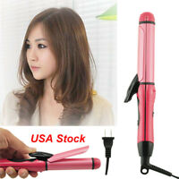 Protable Travel Use 2 in1 Hair Curler Straightener Hot Curling Ceramic Iron Wave
