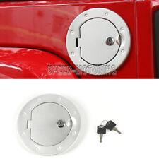 Locking Fuel Tank Cover Gas Lid Filler Cap fit For Jeep Wrangler JK 07-16 Silver