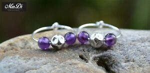 Earrings, pair of handmade hoop earrings with sterling silver & amethyst.
